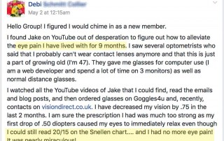 Debi: 9 Months Eye Pain Miraculously Gone!  And 20/15 Vision