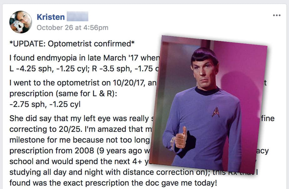 Kristen A (-4.25): Optometrist Confirms 1.5 Diopter Reduction
