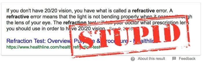 refractive error retard speak