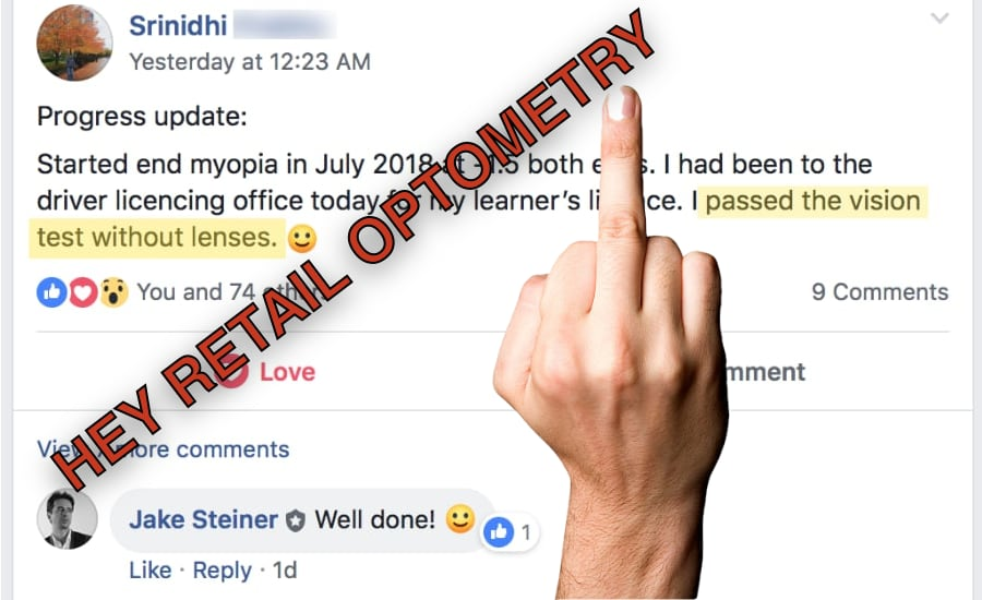 Srinidhi:  Passed Drivers License Test, NO GLASSES