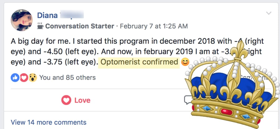Diana:  Starting Gains Optometrist Confirmed