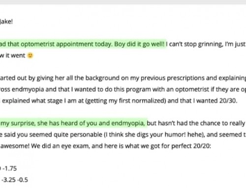 Eva: My Optometrist Knows About Endmyopia! (and lots of gains reports)